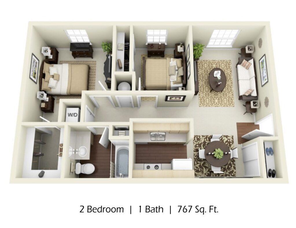 Apartment 2 bed 1 bath, 767sqft