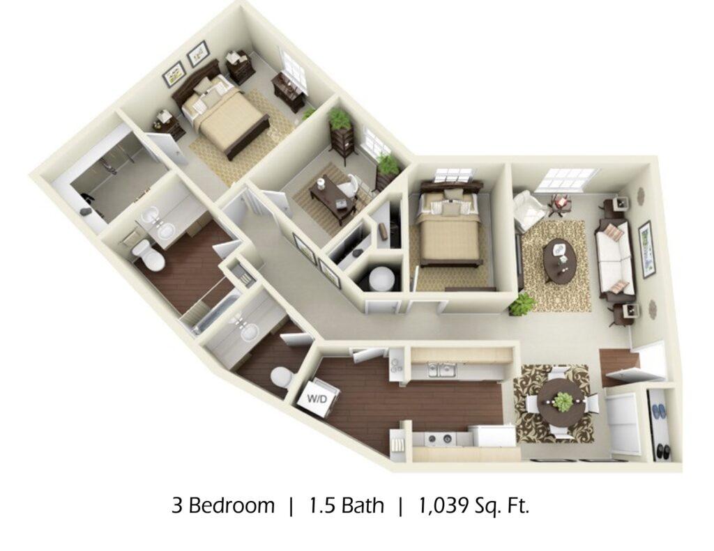 Apartment 3 bed 2 bath, 1039sqft
