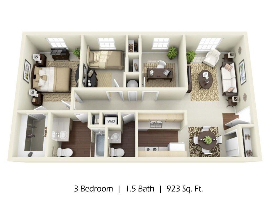 Apartment 3 bed 2 bath, 923sqft