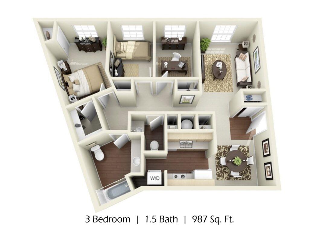 Apartment 3 bed 1.5 bath, 987 sqft